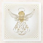 Golden Filigree Christmas Angel of Grace on Glass Glass Coaster