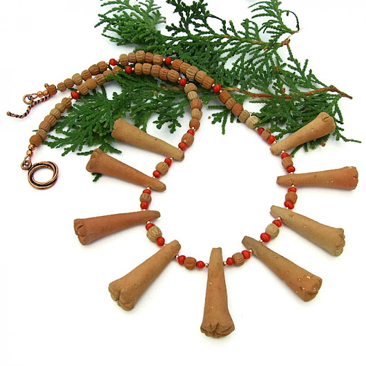 Terracotta and Red Coral Tribal Necklace, Mali Beads Handmade Jewelry
