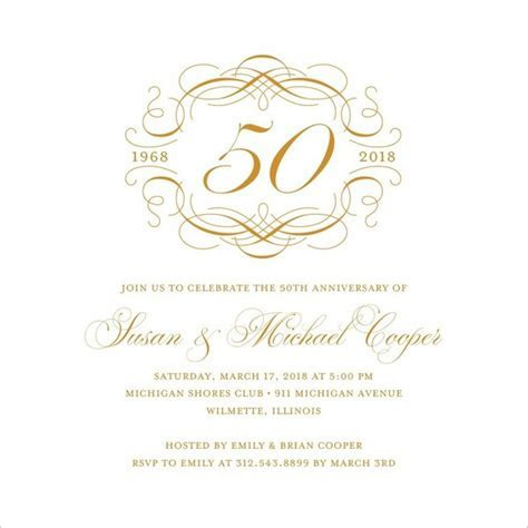 50th Wedding Anniversary Invitations Free Template