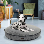 """Kirkland Signature 42"""" Round Dog Bed, Gray Overlay Texture & Faux Suede"""