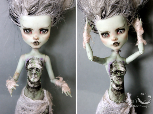iamthestrange:  oh my god this is a repaint of the monster high frankie doll done by kamarza and it's so amazing and awesome and rad I don't even