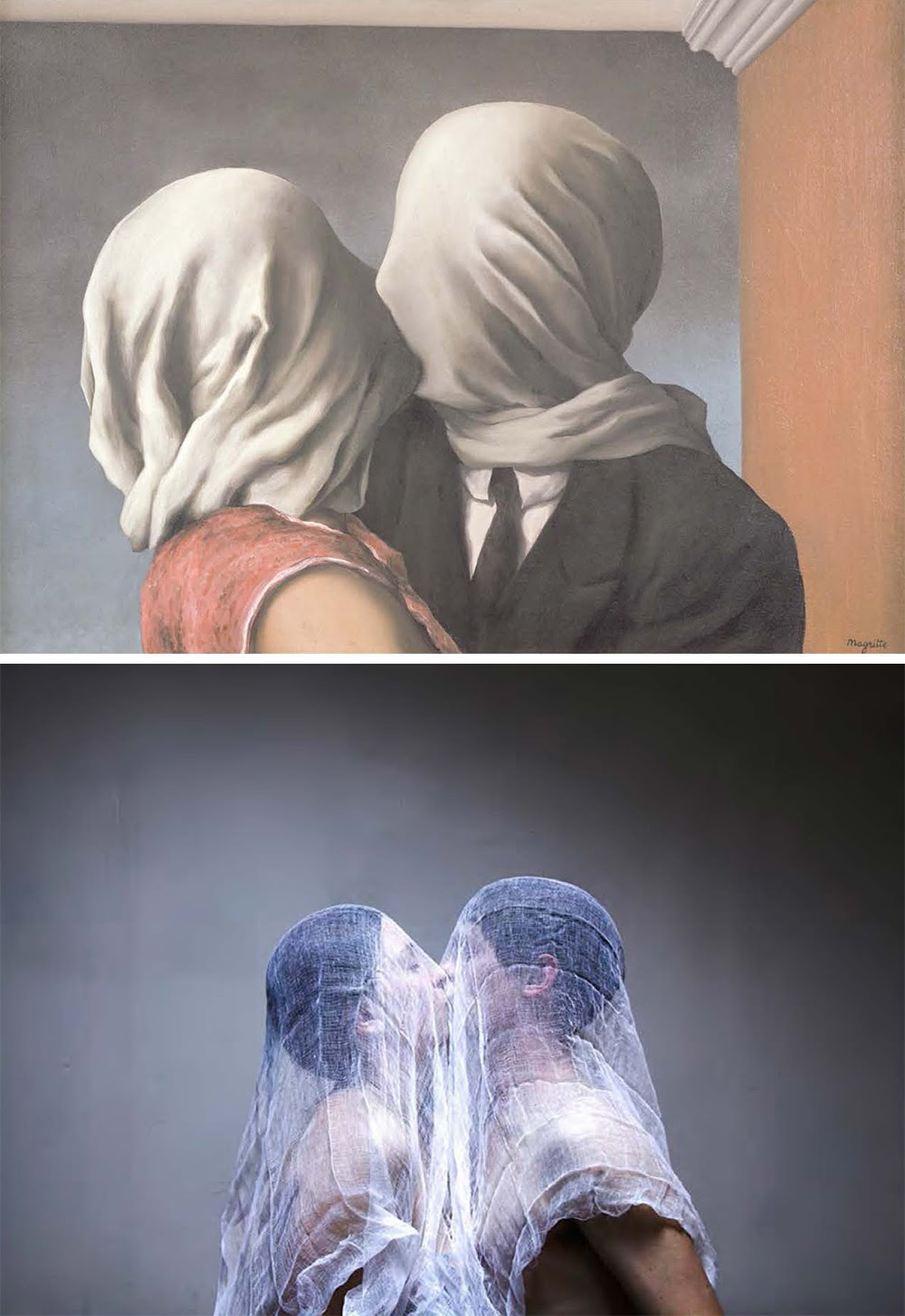 """Rene Magritte, """"The Lovers,"""" 1928, oil on canvas, remake by Linda Cieniawska"""