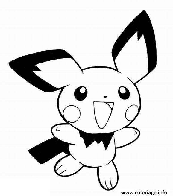 Coloriage Pikachu Pichu Heureux Jecoloriecom