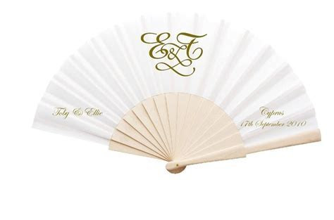 NEW! Personalised Wedding Fans   Fabric and Wooden Handle