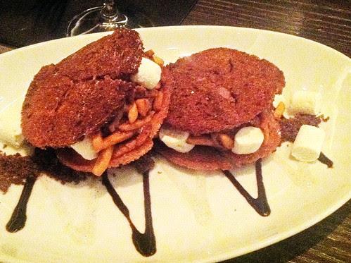 ICE CREAM SANDWICH for two (or three) - vanilla toasted brioche, dark chocolate ice cream vanilla marshmallow, candied almonds
