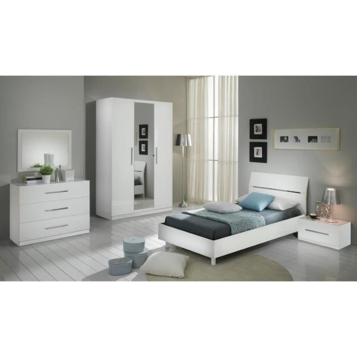 chambre à coucher modèle GLORIA BLANCHE LAQUEE ARMOIRE 3P ...