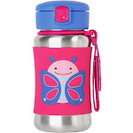 Skip Hop Skip hop Zoo 12 Oz Stainless Steel Butterfly Straw Bottle