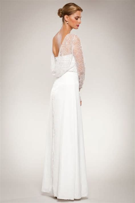 Long Sleeve Lace Wedding Gown Dress Open Cowl Neck Draped