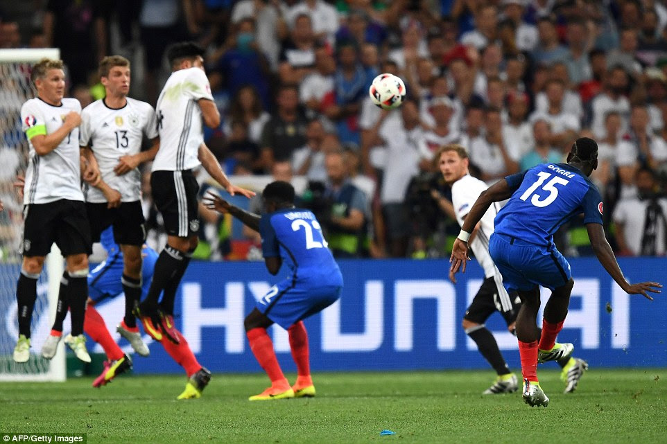 Pogba bumped Payet off free-kick duty to try his luck from 30 yards but, like Payet, saw his shot saved by Neuer in the Germany goal