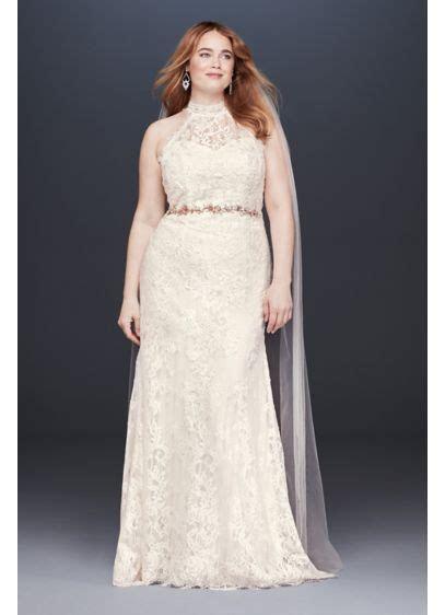 High Neck Lace Halter Plus Size Wedding Dress   David's Bridal