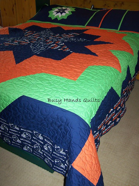Custom King-Sized Seahawks and Broncos Themed Quilt