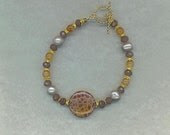 Fire Agate And Multi Gem Vermeil Bracelet