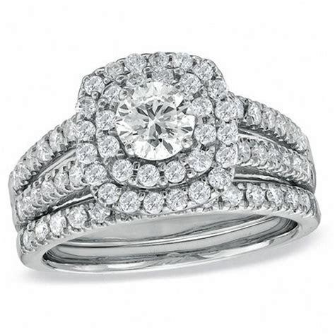 1 1/2 CT. T.W. Diamond Double Frame Bridal Set in 14K