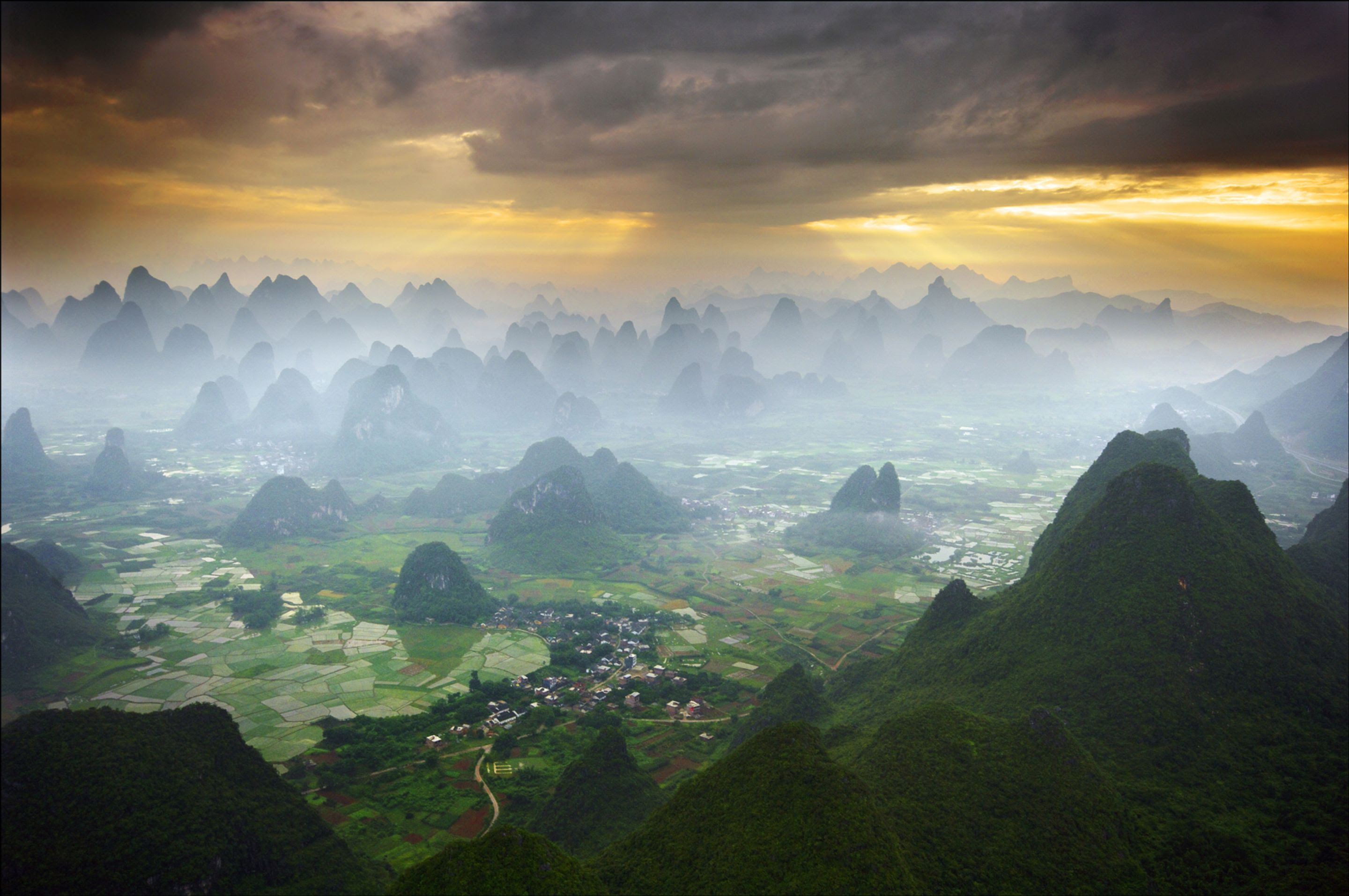 view of province of yangshuo from hot air balloon