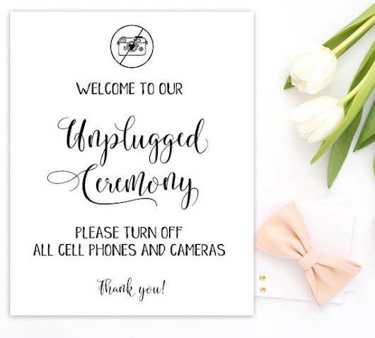 Wedding Unplugged Ceremony Printable  Sign No Phones Sign