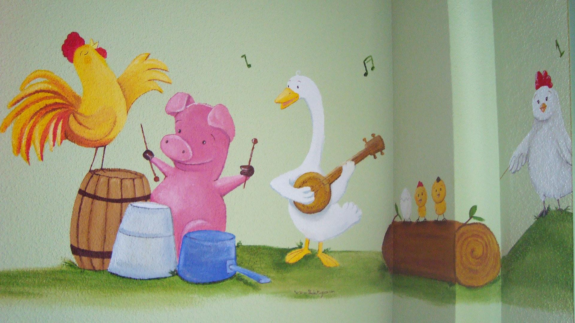 Mural Infantil Animales De Granja Ilustraciones Murales Y Cuadros