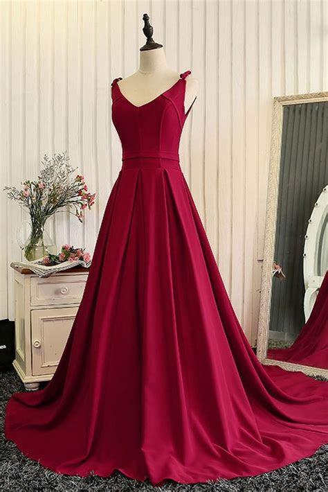 neckline wine red evening dress