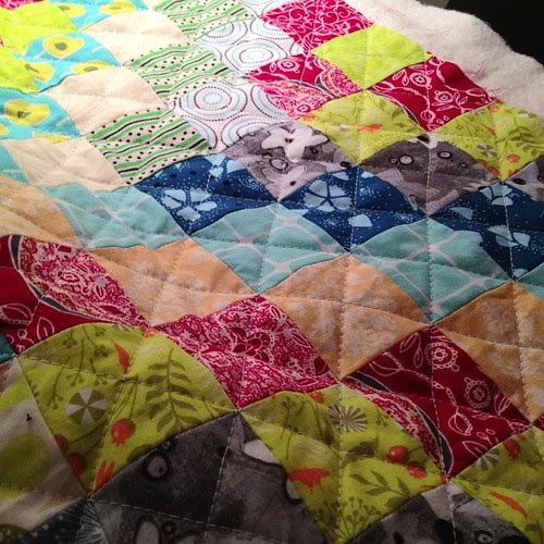 Quilting my scrappy trip along quilt. I decided a lot of lined would be the thing for me today and tonight. #scrappytripalong