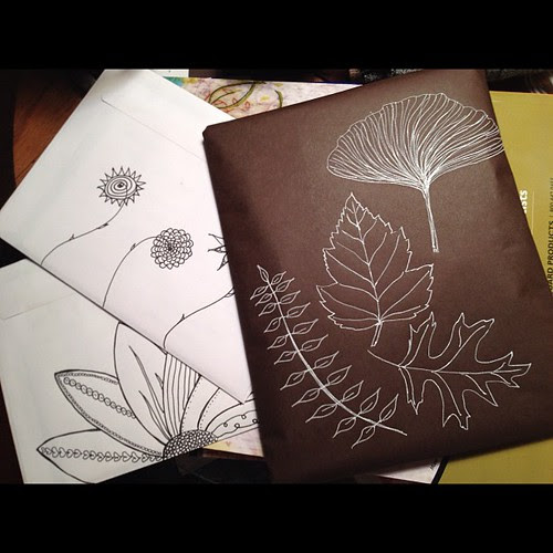 Artful packaging (the journal I made last week is in the brown paper) #art #aedm2012 #doodle