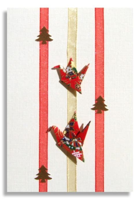 Christmas card Handmade   Two Origami Cranes with Japanese