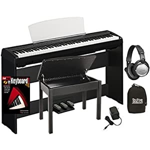 yamaha p95 digital piano bundle including bench stand triple pedal board headphones fastrack. Black Bedroom Furniture Sets. Home Design Ideas