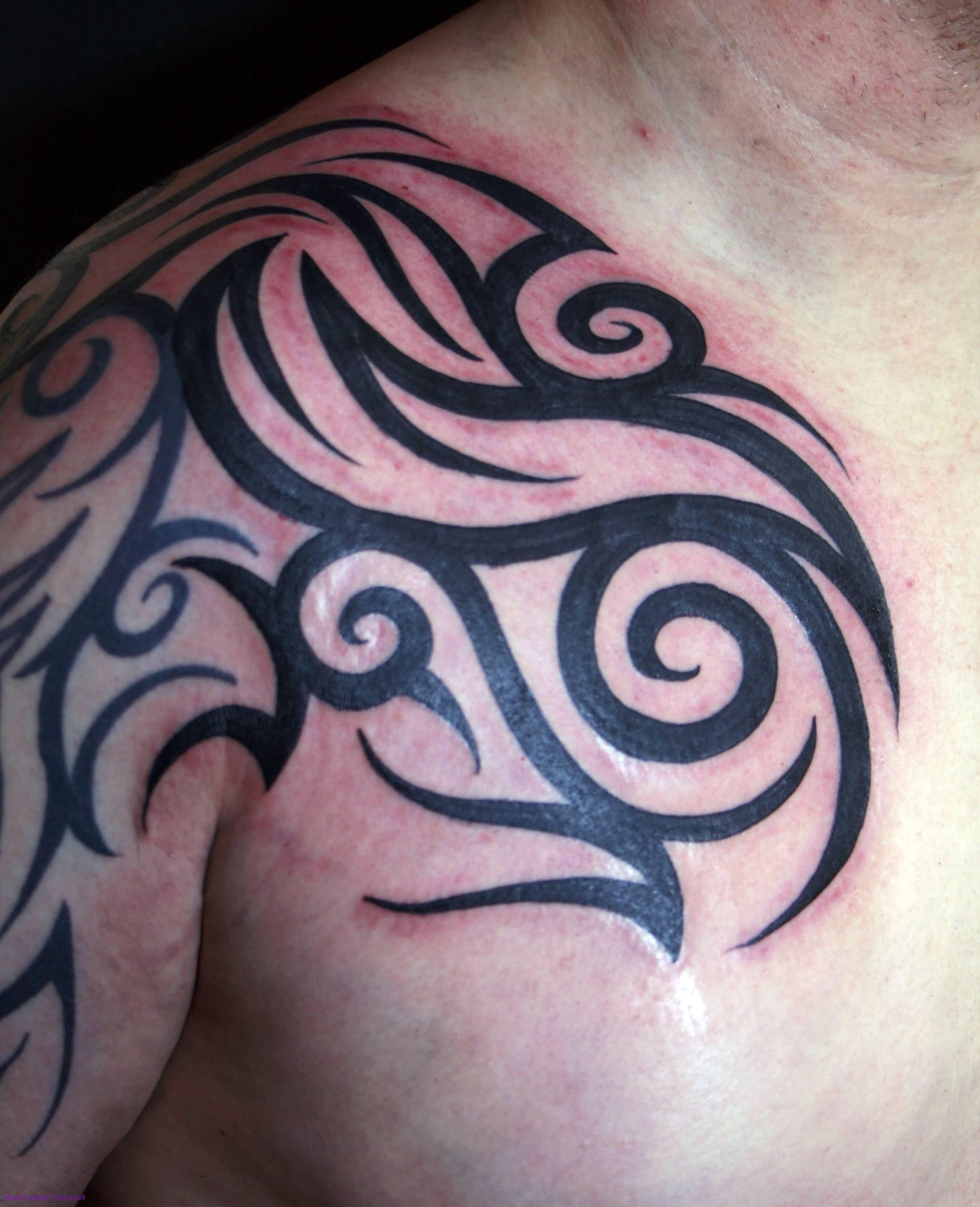 Front Shoulder Tribal Tattoo For Men
