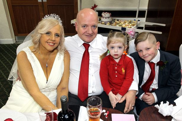 Lorraine Green has fulfilled her dying wish and married Shane Green, just days after doctors diagnosed her with terminal cancer and said she had weeks to live. Pictured - Harry Marsh, 11, and grandaughter Frankie Green, 3
