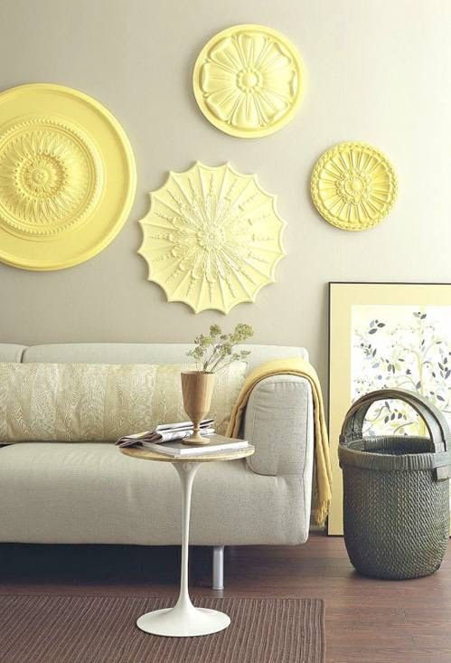 Grey and yellow livingroom. DIY painted ceiling medallions
