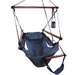 Sunnydaze Hanging Hammock Chair with Pillow Drink Holder - Blue