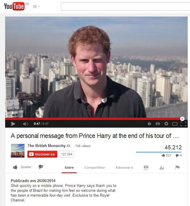 Príncipe Harry gravou mensagem em vídeo para os brasileiros em sua despedida do país (Foto: Reprodução/YouTube/The British Monarchy)
