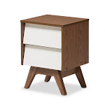 Baxton Studio Hildon NS-Walnut-White Hildon Mid-Century Modern White & Walnut Wood 2-Drawer Storage Nightstand