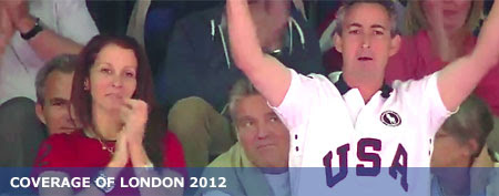 The parents of Olympian Aly Raisman annoyed one fan in the stands. (via NBC)