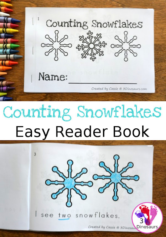Counting Snowflake Number Easy Reader Book | 3 Dinosaurs