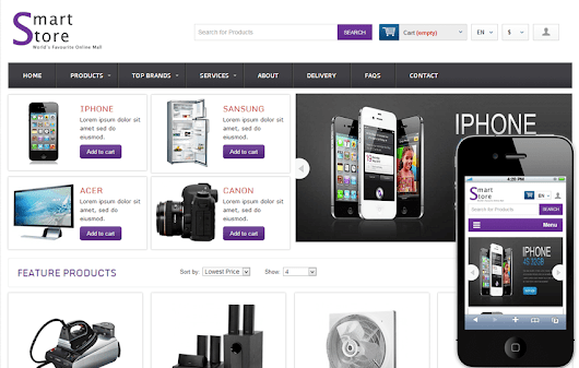 Smart Store Online Shopping Cart Mobile website Template