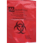 "Medegen Medical Products, AC384, Biohazard Bag, 25"" x 35"", White/ Printed, 2 mil, 100 rl/cs"