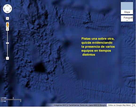 Evidencia de pistas en el fondo del Océano Pacífico