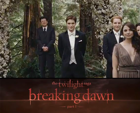 Twilight Saga Breaking Dawn wedding scene with Edward Cullen as the groom