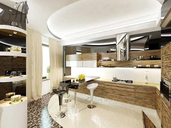Угловая кухня с барной стойкой2