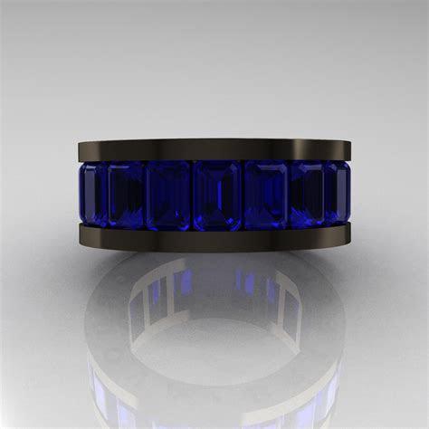 mens modern  black gold blue sapphire channel cluster