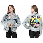 Lucky Road Graphic Oversized Denim Jacket