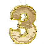 Number 3 Gold Foil Party Pinata For Third Birthday, Centerpiece Decoration, 15.5 X 10.5 X 3 Inches