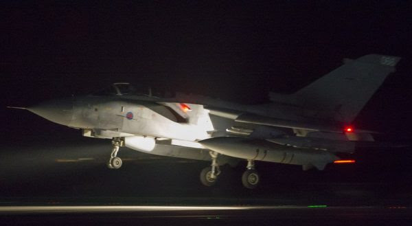 epa06667964 A handout photo made available by the British Ministry of Defence (MoD) showing a British Royal Air Force (RAF) Tornado coming into land at RAF Akrotiri, Cyprus, 14 April 2018 after conducting strikes in support of Operations over the Middle East.The MoD report that four RAF Tornado's took off on 14 April 2018 from RAF Akrotiri to conduct precision strikes on Syrian installations involved in the use of chemical weapons. The Tornados, flown by 31 Squadron the Goldstars, were supported by a Voyager aircraft. They launched Storm Shadow missiles at a military facility – a former missile base – some fifteen miles west of Homs, where the regime is assessed to keep chemical weapon precursors stockpiled in breach of Syria's obligations under the Chemical Weapons Convention. Very careful scientific analysis was applied to determine where best to target the Storm Shadows to maximise the destruction of the stockpiled chemicals and to minimise any risks of contamination to the surrounding area. The facility which was struck is located some distance from any known concentrations of civilian habitation, reducing yet further any such risk. EPA/Cpl L MATTHEWS / BRITISH MINISTRY OF DEFENCE / HANDOUT MANDATORY CREDIT MOD: CROWN COPYRIGHT HANDOUT EDITORIAL USE ONLY/NO SALES