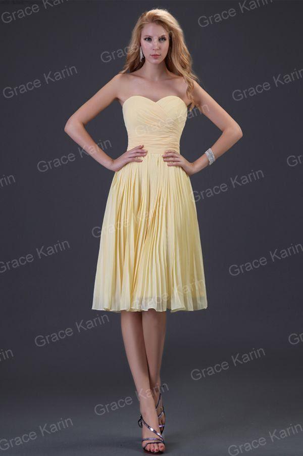 Soft yellow evening dresses