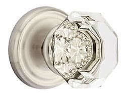 Emtek Old Town Clear Crystal Door Knob With Satin Nickel