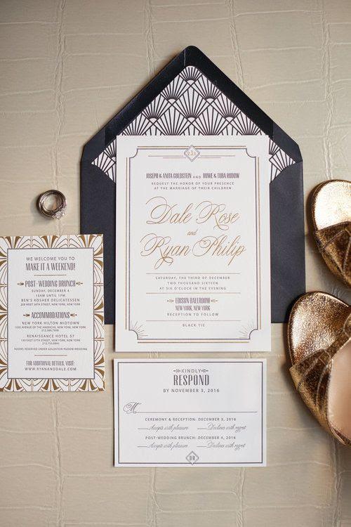 Neutrale Hochzeit lädt mit 20er Jahre inspirierte Drucke und eine Marine-Umschlag
