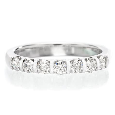 18K White Gold 7 Stone Bar Set Diamond Band   Long's Jewelers