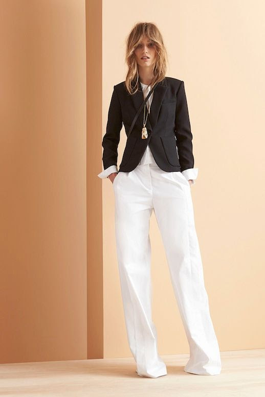Le Fashion Blog Maiyet Resort 2015 Collection Cropped Blazer Long Necklace White Wide Leg Pants