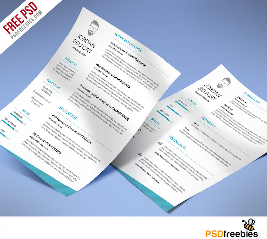 Minimal and Clean resume Free PSD Template - PSDFreebies.com