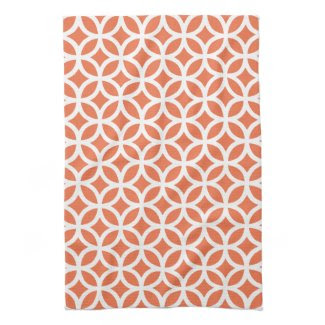 Coral Geometric Towels