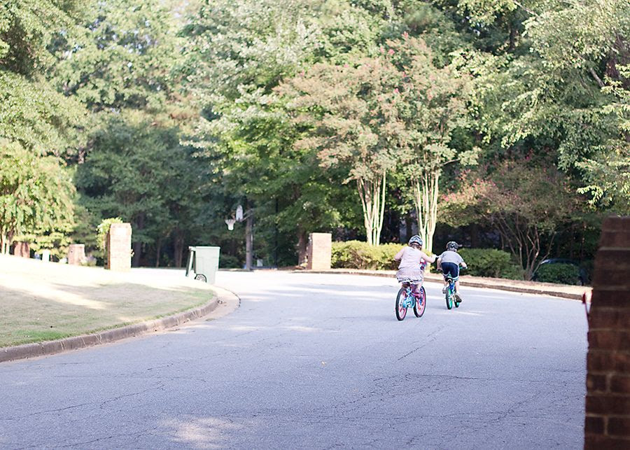 9.13.11, Kathryn and her friend getting to ride around the neighborhood by themselves for the first time.